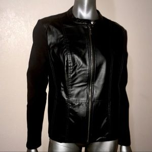 Ny Collection Black faux leather jacket NWT